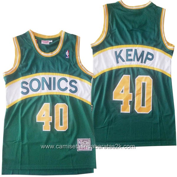 Camisetas nba baratas del Hardwood Classics #40 Shawn Kemp de Seattle SuperSonics