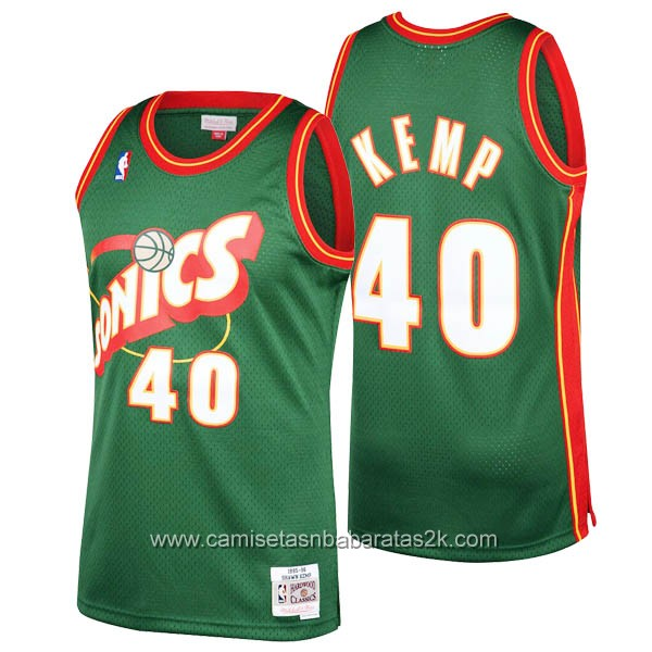 Camisetas nba baratas del verde #40 Shawn Kemp de Seattle SuperSonics